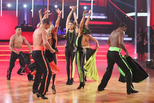Zendaya, Ingo Rademacher, Victor Ortiz, Jacoby Jones and their partners perform a team Paso Doble dance on week six of &#39;Dancing With The Stars,&#39; which aired on April 22, 2013. They received a score of 22 out of 30 from the judges. <span class=meta>(ABC Photo&#47; Adam Taylor)</span>