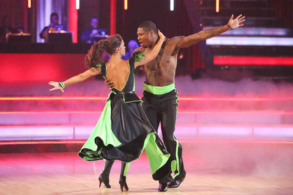 NFL star Jacoby Jones and regular partner Karina Smirnoff perform a team Paso Doble dance on week six of &#39;Dancing With The Stars,&#39; which aired on April 22, 2013. They received a score of 22 out of 30 from the judges. <span class=meta>(ABC Photo&#47; Adam Taylor)</span>