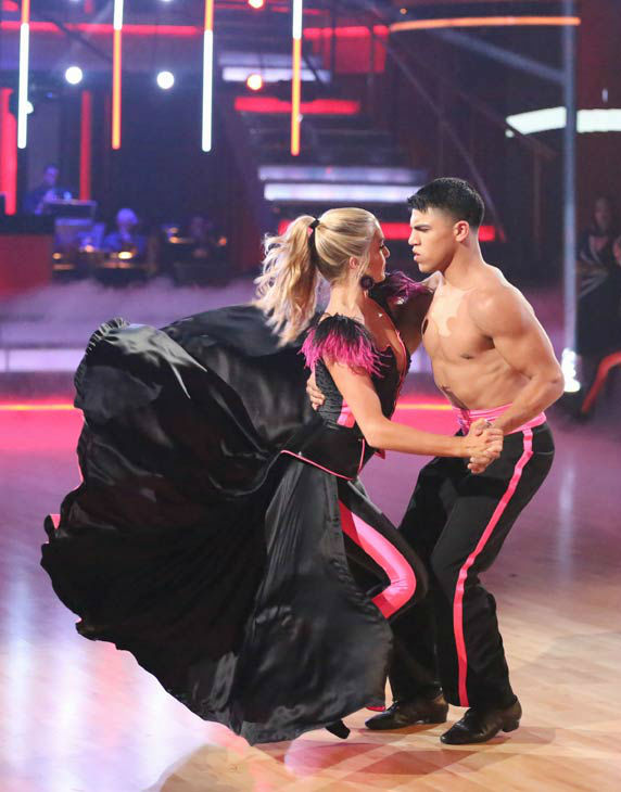 "<div class=""meta ""><span class=""caption-text "">Boxer Victor Ortiz and his partner Lindsay Arnold perform a team Paso Doble dance on week six of 'Dancing With The Stars,' which aired on April 22, 2013. They received a score of 22 out of 30 from the judges. (ABC Photo/ Adam Taylor)</span></div>"