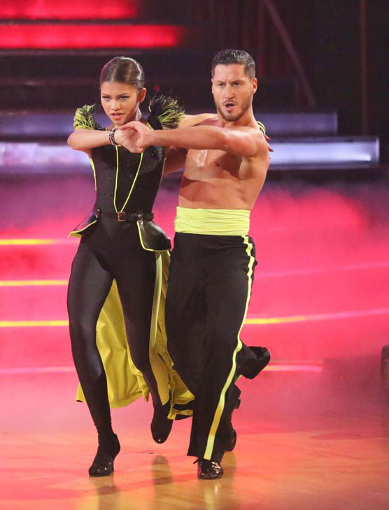 "<div class=""meta ""><span class=""caption-text "">'Shake It Up' actress Zendaya and partner Val Chmerkovskiy perform a team Paso Doble dance on week six of 'Dancing With The Stars,' which aired on April 22, 2013. They received a score of 22 out of 30 from the judges. (ABC Photo/ Adam Taylor)</span></div>"