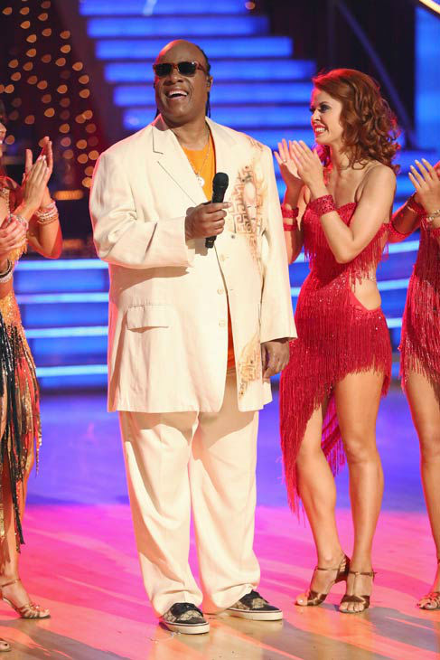 Stevie Wonder performs on week six of 'Dancing With The Stars,' which aired on April 22, 2013. Wonder sang his classic hits 'Sir Duke' and 'My Cherie Amour.'