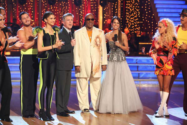 "<div class=""meta ""><span class=""caption-text "">Kym Johnson, Ingo Rademacher, Val Chmerkovskiy, Zendaya, Tom Bergeron, Stevie Wonder, Brooke Burke-Charvet, Peta Murgatroyd and Sean Lowe appear on 'Dancing With The Stars' on April 22, 2013. (ABC Photo/ Adam Taylor)</span></div>"