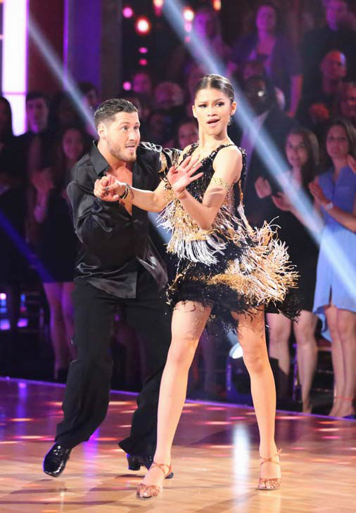 'Shake It Up' actress Zendaya and partner Val Chmerkovskiy dance the Cha Cha Cha on week six of 'Dancing With The Stars' on April 22, 2013.