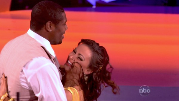 "<div class=""meta ""><span class=""caption-text "">NFL star Jacoby Jones and regular partner Karina Smirnoff dance the Quickstep on week six of 'Dancing With The Stars' on April 22, 2013. They received 23 out of 30 points from the judges. (ABC Photo/ Adam Taylor)</span></div>"