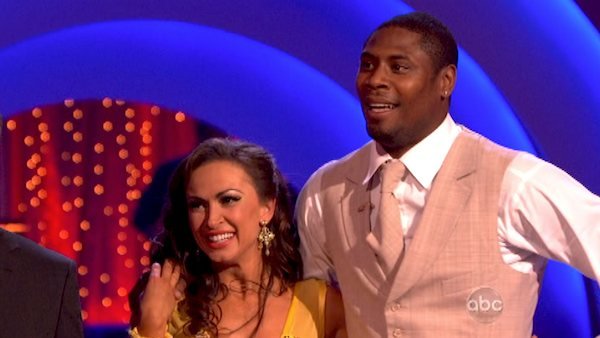 "<div class=""meta ""><span class=""caption-text "">NFL star Jacoby Jones and his partner Karina Smirnoff received 23 out of 30 points from the judges for their Quickstep dance during week six of 'Dancing With The Stars,' which aired on April 22, 2013. (ABC Photo / Adam Taylor)</span></div>"