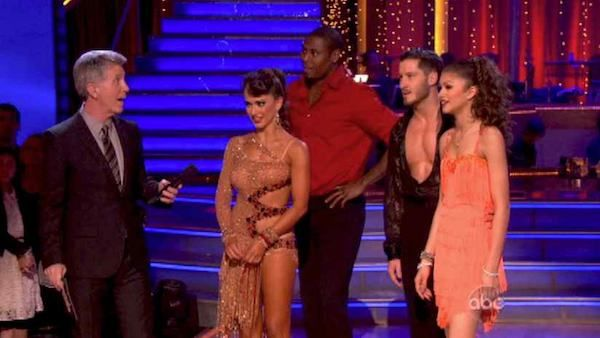 "<div class=""meta ""><span class=""caption-text "">Zendaya beats Jacoby Jones in a Jive dance-off to earn three extra points from the judges on week seven of 'Dancing With The Stars' on April 29, 2013. (ABC Photo / Adam Taylor)</span></div>"