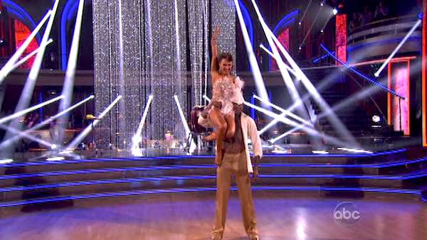 "<div class=""meta image-caption""><div class=""origin-logo origin-image ""><span></span></div><span class=""caption-text"">NFL star Jacoby Jones and regular partner Karina Smirnoff dance the Salsa on week seven of 'Dancing With The Stars' on April 29, 2013. They received 27 out of 30 points from the judges. (ABC Photo/ Adam Taylor)</span></div>"