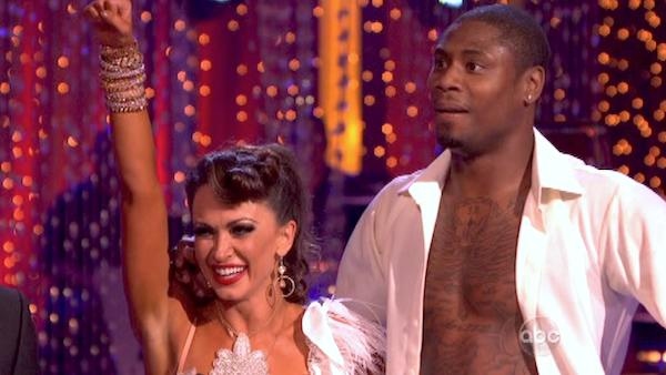 "<div class=""meta ""><span class=""caption-text "">NFL star Jacoby Jones and his partner Karina Smirnoff received 27 out of 30 points from the judges for their Salsa dance during week seven of 'Dancing With The Stars,' which aired on April 29, 2013. (ABC Photo / Adam Taylor)</span></div>"