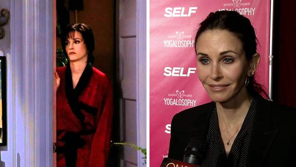 Left -- Courteney Cox appears in a still from 'Friends.' Right -- Courteney Cox appears at Mandy Ingber's yoga book even on April 30, 2013.