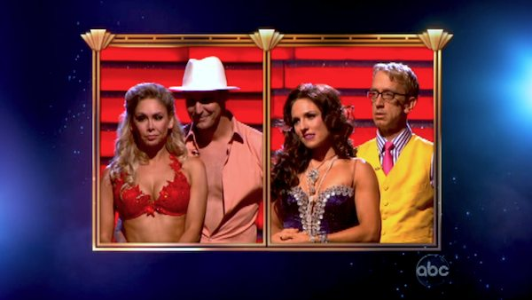 Actors Andy Dick, Ingo Rademacher and their partners await their fate on &#39;Dancing With The Stars: The Results Show&#39; on April 30, 2013. <span class=meta>(ABC&#47;Adam Taylor)</span>
