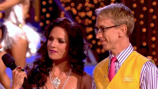 Actor and comedian Andy Dick and his partner Sharna Burgess react to their elimination on &#39;Dancing With The Stars: The Results Show&#39; on April 30, 2013. The pair received 17 out of 30 points from the judges for their Rumba on week 7 of &#39;Dancing With The Stars,&#39; which aired on April 29, 2013.  <span class=meta>(ABC Photo &#47; Adam Taylor)</span>