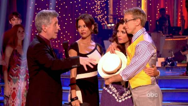 "<div class=""meta ""><span class=""caption-text "">Actor and comedian Andy Dick and his partner Sharna Burgess react to their elimination on 'Dancing With The Stars: The Results Show' on April 30, 2013. The pair received 17 out of 30 points from the judges for their Rumba on week 7 of 'Dancing With The Stars,' which aired on April 29, 2013.  (ABC Photo / Adam Taylor)</span></div>"