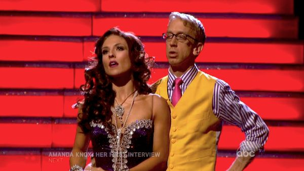 Actor and comedian Andy Dick and his partner Sharna Burgess await their fate on &#39;Dancing With The Stars: The Results Show&#39; on April 30, 2013. The pair received 17 out of 30 points from the judges for their Rumba on week 7 of &#39;Dancing With The Stars,&#39; which aired on April 29, 2013. <span class=meta>(ABC Photo &#47; Adam Taylor)</span>