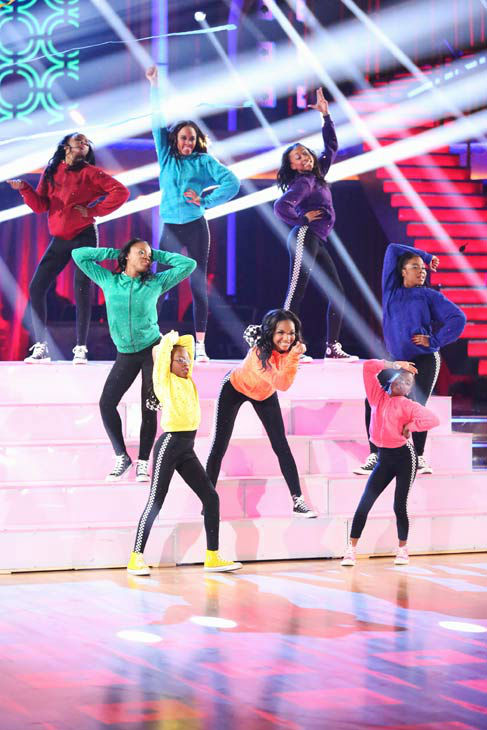 "<div class=""meta ""><span class=""caption-text "">Members of the Camden Sophisticated Sisters, an organization that provides young women an opportunity to learn discipline in drill team competition, dance in the 'AT&T Spotlight Performance' on 'Dancing With The Stars: The Results Show' on April 30, 2013. (ABC Photo/ Adam Taylor)</span></div>"