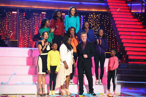 Members of the Camden Sophisticated Sisters, an organization that provides young women an opportunity to learn discipline in drill team competition, dance in the 'AT&T Spotlight Performance' on 'Dancing With The Stars: The Results Show' on April 30, 2
