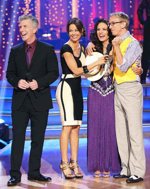 "<div class=""meta ""><span class=""caption-text "">Actor and comedian Andy Dick and his partner Sharna Burgess react to their elimination on 'Dancing With The Stars: The Results Show' on April 30, 2013. The pair received 17 out of 30 points from the judges for their Rumba on week 7 of 'Dancing With The Stars,' which aired on April 29, 2013. (ABC Photo/ Adam Taylor)</span></div>"