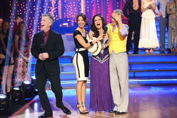 Actor and comedian Andy Dick and his partner Sharna Burgess react to their elimination on &#39;Dancing With The Stars: The Results Show&#39; on April 30, 2013. The pair received 17 out of 30 points from the judges for their Rumba on week 7 of &#39;Dancing With The Stars,&#39; which aired on April 29, 2013. <span class=meta>(ABC Photo&#47; Adam Taylor)</span>