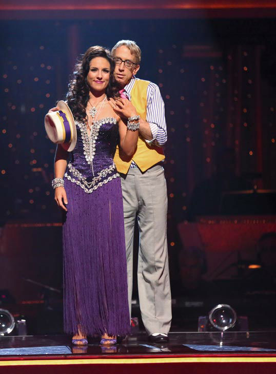 "<div class=""meta ""><span class=""caption-text "">Actor and comedian Andy Dick and his partner Sharna Burgess await their fate on 'Dancing With The Stars: The Results Show' on April 30, 2013. The pair received 17 out of 30 points from the judges for their Rumba on week 7 of 'Dancing With The Stars,' which aired on April 29, 2013. (ABC Photo/ Adam Taylor)</span></div>"