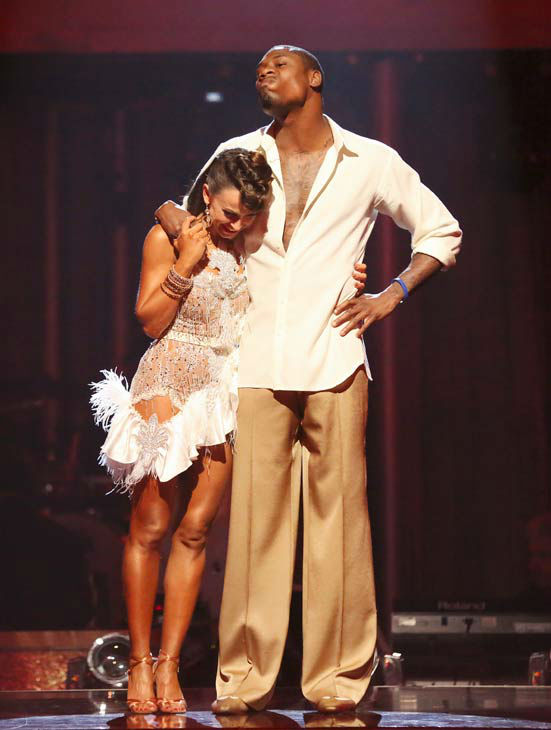 "<div class=""meta ""><span class=""caption-text "">NFL star Jacoby Jones and his partner Karina Smirnoff await their fate on 'Dancing With The Stars: The Results Show' on April 30, 2013. The pair received 27 out of 30 points from the judges for their Salsa dance on week seven of 'Dancing With The Stars,' which aired on April 29, 2013. (ABC Photo/ Adam Taylor)</span></div>"
