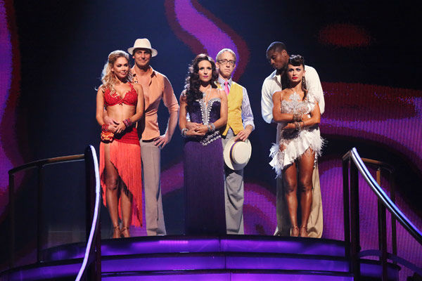 NFL star Jacoby Jones and his partner Karina Smirnoff await their fate on &#39;Dancing With The Stars: The Results Show&#39; on April 30, 2013. The pair received 27 out of 30 points from the judges for their Salsa dance on week seven of &#39;Dancing With The Stars,&#39; which aired on April 29, 2013. <span class=meta>(ABC Photo&#47; Adam Taylor)</span>