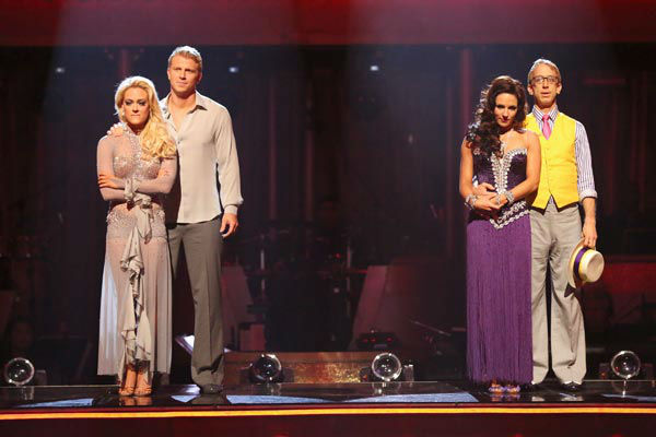 "<div class=""meta ""><span class=""caption-text "">Former 'Bachelor' star Sean Lowe and his partner Peta Murgatroyd await their fate on 'Dancing With The Stars: The Results Show' on April 30, 2013. The pair received 24 out of 30 points from the judges for their Rumba on week seven of 'Dancing With The Stars,' which aired on April 29, 2013.  (ABC Photo/ Adam Taylor)</span></div>"