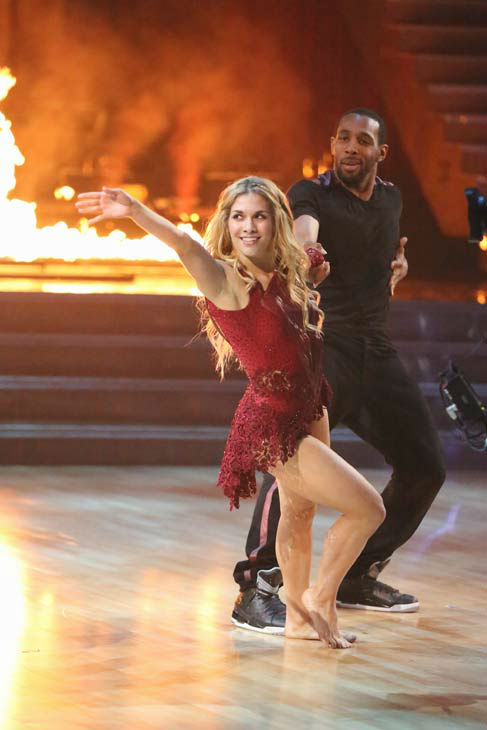 "<div class=""meta image-caption""><div class=""origin-logo origin-image ""><span></span></div><span class=""caption-text"">'Macy's Stars of Dance' troupe performs its fourth installment, which was choreographed by Allison Holker and Stephen 'tWitch' Boss, on 'Dancing With The Stars: The Results Show' on April 30, 2013. The dance is accompanied by violinist and YouTube sensation Lindsey Stirling. (ABC Photo/ Adam Taylor)</span></div>"