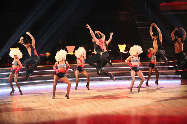 "<div class=""meta ""><span class=""caption-text "">The troupe performs an ensemble dance on 'Dancing With The Stars: The Results Show' on April 30, 2013. (ABC Photo/ Adam Taylor)</span></div>"