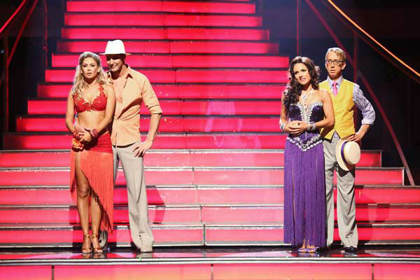 Actors Andy Dick, Ingo Rademacher and their partners await their fate on &#39;Dancing With The Stars: The Results Show&#39; on April 30, 2013. <span class=meta>(ABC Photo&#47; Adam Taylor)</span>