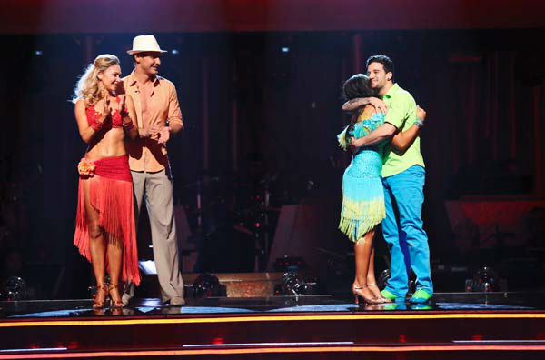 "<div class=""meta ""><span class=""caption-text "">Olympic gymnast Aly Raisman and her partner Mark Ballas react to being safe from elimination on 'Dancing With The Stars: The Results Show' on April 30, 2013. The pair received 29 out of 30 points from the judges for their Salsa routine on week 7 of 'Dancing With The Stars,' which aired on April 29, 2013. (ABC Photo/ Adam Taylor)</span></div>"