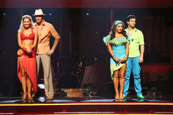 "<div class=""meta ""><span class=""caption-text "">Olympic gymnast Aly Raisman and her partner Mark Ballas await their fate on 'Dancing With The Stars: The Results Show' on April 30, 2013. The pair received 29 out of 30 points from the judges for their Salsa routine on week 7 of 'Dancing With The Stars,' which aired on April 29, 2013. (ABC Photo/ Adam Taylor)</span></div>"