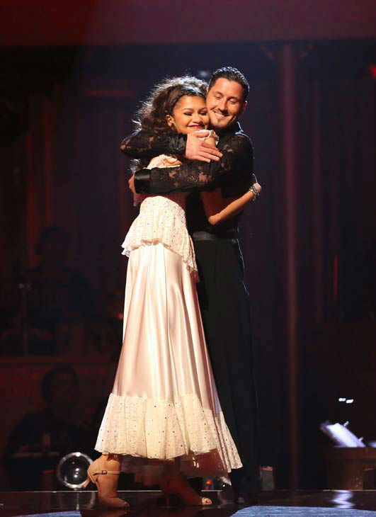 "<div class=""meta ""><span class=""caption-text "">Zendaya and Val Chmerkovskiy react after being safe from elimination on 'Dancing With The Stars: The Results Show' on April 30, 2013. The pair received 27 out of 30 points from the judges for their Paso Doble on week 7 of 'Dancing With The Stars,' which aired on April 30, 2013. (ABC Photo/ Adam Taylor)</span></div>"