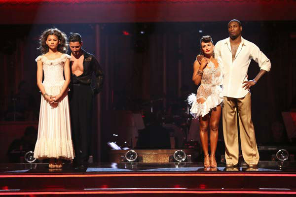 Zendaya and Val Chmerkovskiy await their fate on &#39;Dancing With The Stars: The Results Show&#39; on April 30, 2013. The pair received 27 out of 30 points from the judges for their Paso Doble on week 7 of &#39;Dancing With The Stars,&#39; which aired on April 29, 2013.  <span class=meta>(ABC Photo&#47; Adam Taylor)</span>