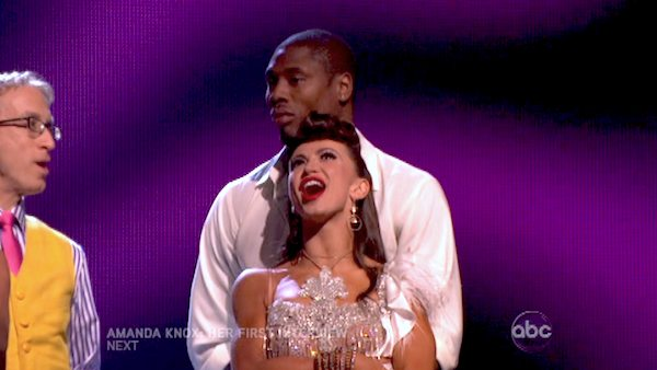 "<div class=""meta ""><span class=""caption-text "">NFL star Jacoby Jones and his partner Karina Smirnoff react to being safe from elimination on 'Dancing With The Stars: The Results Show' on April 30, 2013. The pair received 27 out of 30 points from the judges for their Salsa dance on week seven of 'Dancing With The Stars,' which aired on April 29, 2013. (ABC/Adam Taylor)</span></div>"