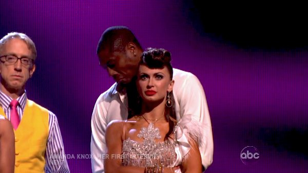 NFL star Jacoby Jones and his partner Karina Smirnoff await their fate on &#39;Dancing With The Stars: The Results Show&#39; on April 30, 2013. The pair received 27 out of 30 points from the judges for their Salsa dance on week seven of &#39;Dancing With The Stars,&#39; which aired on April 29, 2013. <span class=meta>(ABC&#47;Adam Taylor)</span>