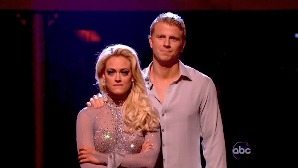 Former &#39;Bachelor&#39; star Sean Lowe and his partner Peta Murgatroyd await their fate on &#39;Dancing With The Stars: The Results Show&#39; on April 30, 2013. The pair received 24 out of 30 points from the judges for their Rumba on week seven of &#39;Dancing With The Stars,&#39; which aired on April 29, 2013. <span class=meta>(ABC Photo &#47; Adam Taylor)</span>