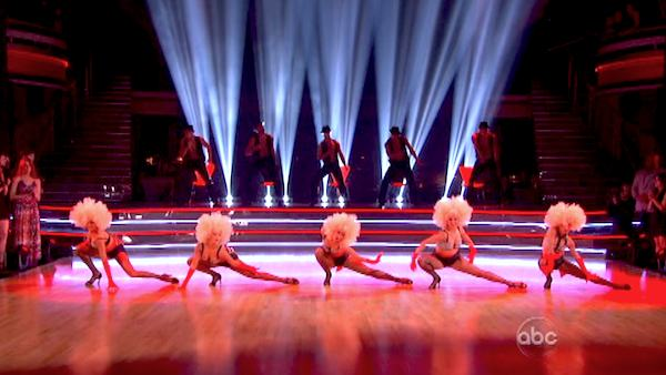 "<div class=""meta ""><span class=""caption-text "">The Pros perform an ensemble dance on 'Dancing With The Stars: The Results Show' on April 30, 2013. (ABC/Adam Taylor)</span></div>"