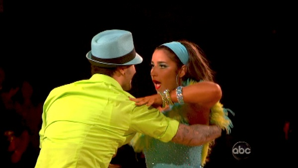 "<div class=""meta image-caption""><div class=""origin-logo origin-image ""><span></span></div><span class=""caption-text"">Olympic gymnast Aly Raisman and her partner Mark Ballas performed an encore of their Salsa routine on 'Dancing With The Stars: The Results Show' on April 30, 2013. They had earned a a score of 29 out of 30 points for their performance on April 29, 2013. (ABC Photo / Adam Taylor)</span></div>"