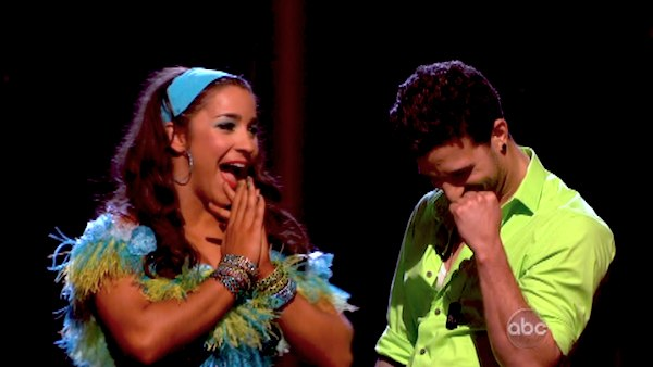 Olympic gymnast Aly Raisman and her partner Mark Ballas react to being safe from elimination on &#39;Dancing With The Stars: The Results Show&#39; on April 30, 2013. The pair received 29 out of 30 points from the judges for their Salsa routine on week 7 of &#39;Dancing With The Stars,&#39; which aired on April 29, 2013. <span class=meta>(ABC Photo &#47; Adam Taylor)</span>