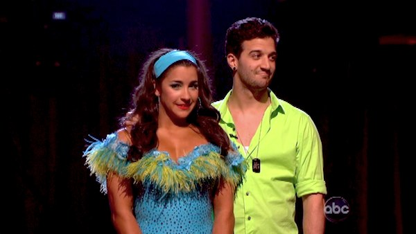 Olympic gymnast Aly Raisman and her partner Mark Ballas await their fate on &#39;Dancing With The Stars: The Results Show&#39; on April 30, 2013. The pair received 29 out of 30 points from the judges for their Salsa routine on week 7 of &#39;Dancing With The Stars,&#39; which aired on April 29, 2013. <span class=meta>(ABC)</span>