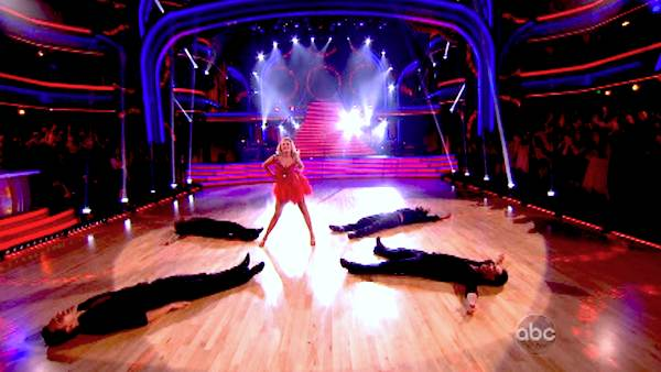 "<div class=""meta ""><span class=""caption-text "">The troupe performs an ensemble dance on 'Dancing With The Stars: The Results Show' on April 30, 2013. (ABC/Adam Taylor)</span></div>"