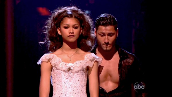 Zendaya and Val Chmerkovskiy await their fate on &#39;Dancing With The Stars: The Results Show&#39; on April 30, 2013. The pair received 27 out of 30 points from the judges for their Paso Doble on week 7 of &#39;Dancing With The Stars,&#39; which aired on April 29, 2013. <span class=meta>(ABC Photo &#47; Adam Taylor)</span>
