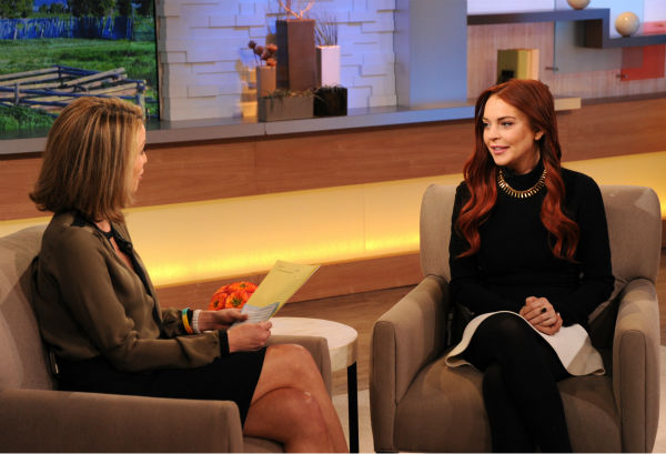 Lindsay Lohan appears with interviewer Amy Robach on an episode of 'Good Morning America' that aired on the ABC Television Network on Nov. 16, 2012.