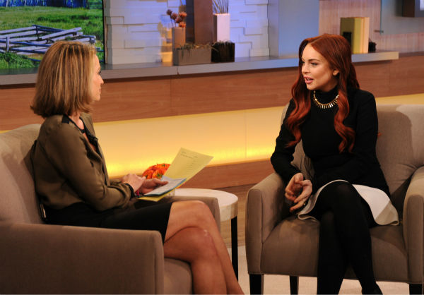 Lindsay Lohan appears with interviewer Amy Robach on an episode of &#39;Good Morning America&#39; that aired on the ABC Television Network on Nov. 16, 2012. <span class=meta>(ABC Photo &#47; Donna Svennevik)</span>