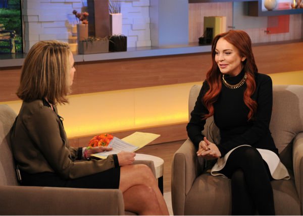"<div class=""meta image-caption""><div class=""origin-logo origin-image ""><span></span></div><span class=""caption-text"">Lindsay Lohan appears with interviewer Amy Robach on an episode of 'Good Morning America' that aired on the ABC Television Network on Nov. 16, 2012. (ABC Photo / Donna Svennevik)</span></div>"