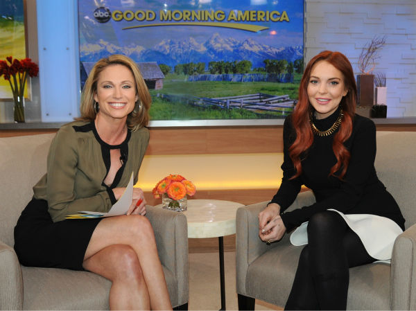"<div class=""meta ""><span class=""caption-text "">Lindsay Lohan appears with interviewer Amy Robach on an episode of 'Good Morning America' that aired on the ABC Television Network on Nov. 16, 2012. (ABC Photo / Donna Svennevik)</span></div>"