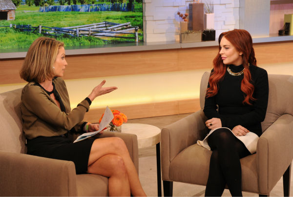 Lindsay Lohan appears with interviewer Amy Robach on an episod