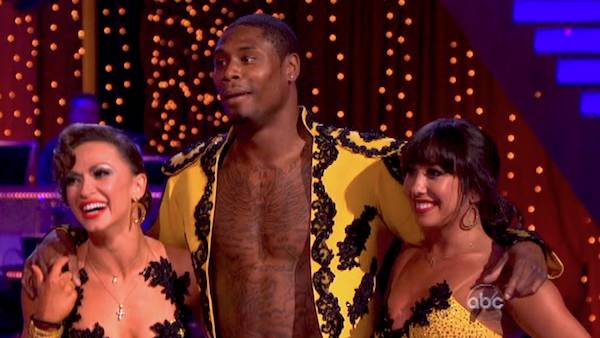 NFL star Jacoby Jones and partner Karina Smirnoff received 25 out of 30 points from the judges for their Paso Doble trio with Cheryl Burke during week eight of &#39;Dancing With The Stars,&#39; which aired on May 6, 2013.  The pair received 27 out of 30 points for their previous dance on this episode, the Viennese Waltz. Their total for the night was 52 out of 60. <span class=meta>(ABC Photo &#47; Adam Taylor)</span>