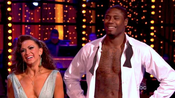 NFL star Jacoby Jones and partner Karina Smirnoff danced the Viennese Waltz on week eight of &#39;Dancing With The Stars&#39; on May 6, 2013. They received 27 out of 30 points from the judges. <span class=meta>(ABC Photo &#47; Adam Taylor)</span>