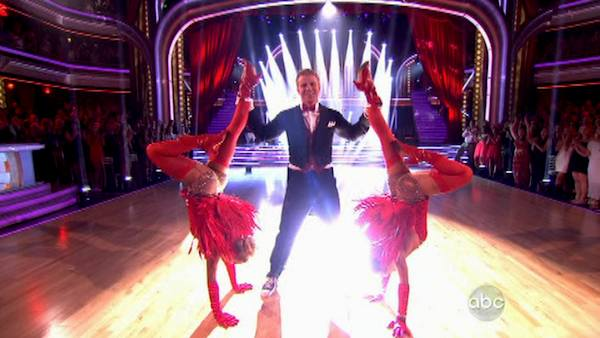 Former 'Bachelor' star Sean Lowe and his partner Peta Murgatroyd dance a Jazz trio with Sharna Burgess on week eight of 'Dancing With The Stars' on May 6, 2013. They received 21 out of 30 points.