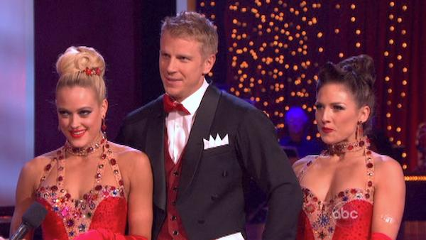Former 'Bachelor' star Sean Lowe and his partner Peta Murgatroyd received 21 out of 30 points from the judges for their Jazz trio with Sharna Burges during week eight of 'Dancing With The Stars,' which aired on May 6, 2013.